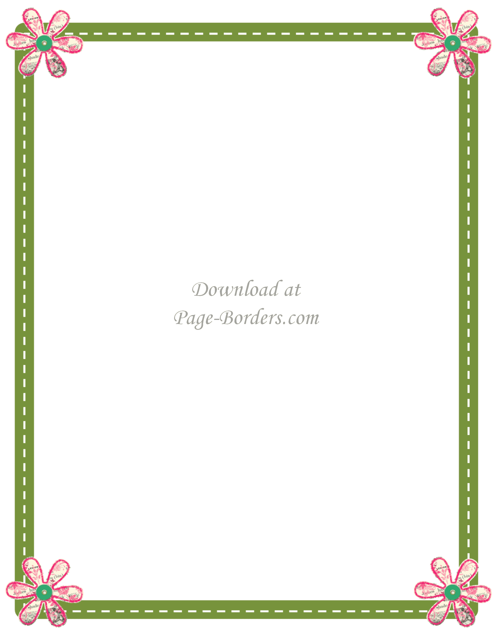 green page border with pink flowers