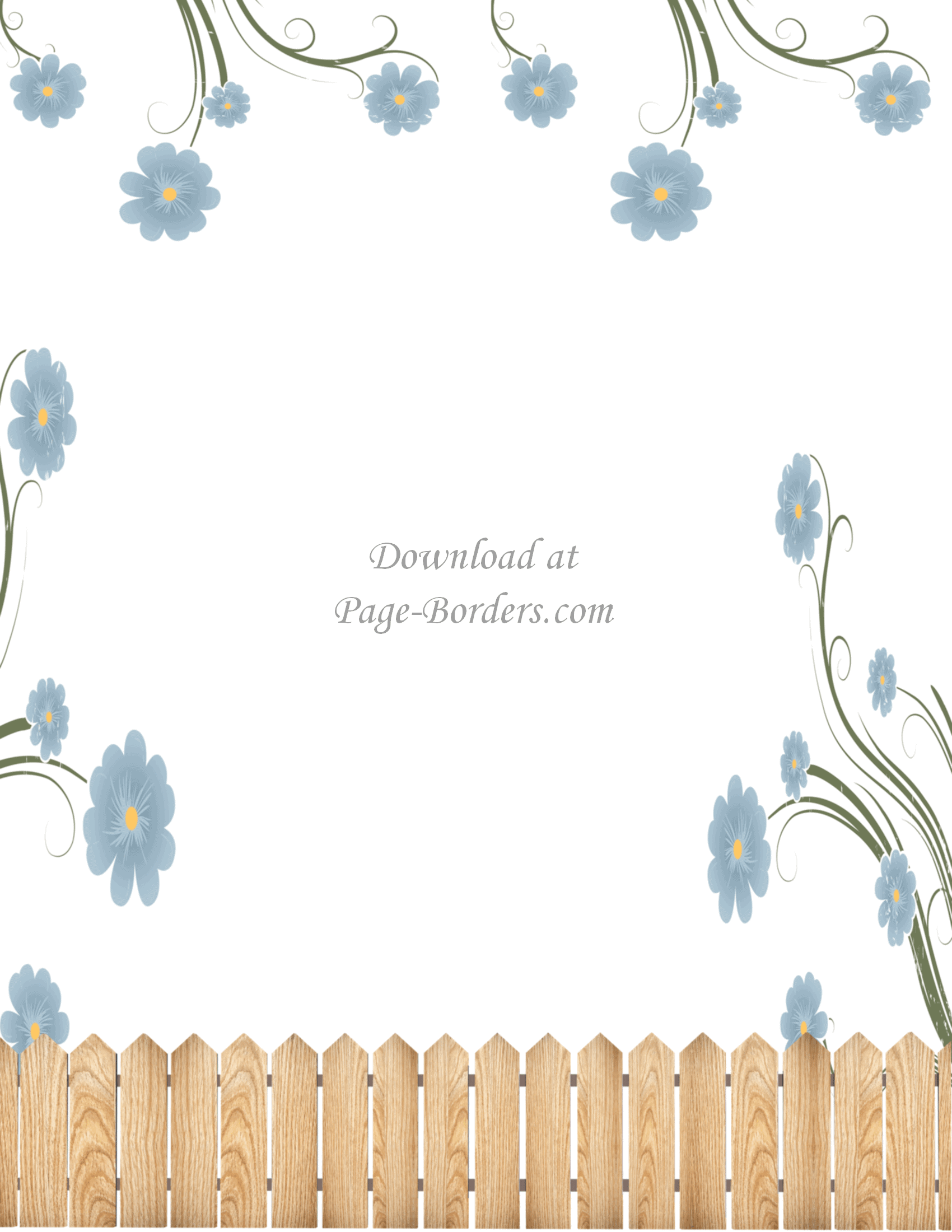 Flower Border on Pretty Page Borders