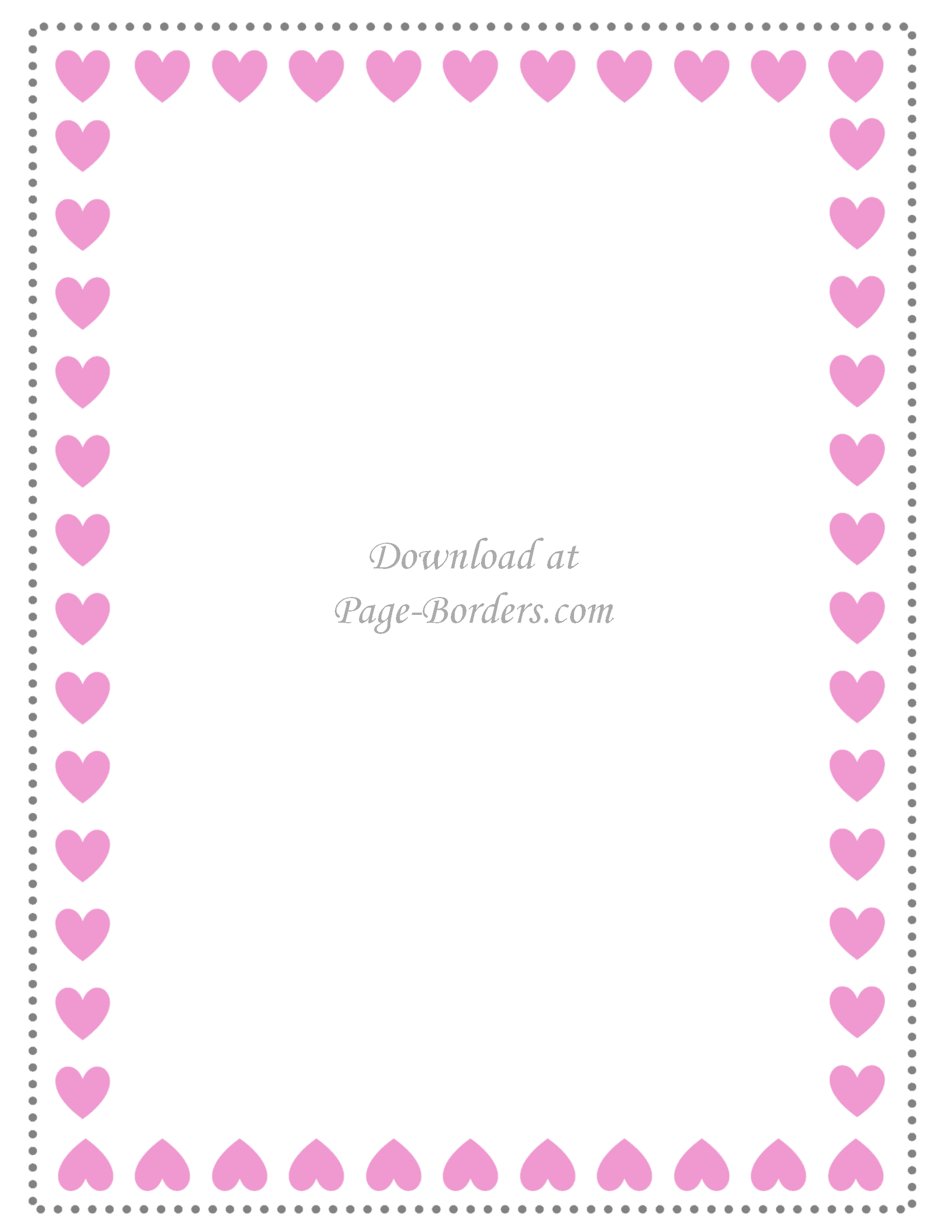 Heart border with pink hearts
