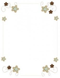 flowers border with flowers in shades of brown