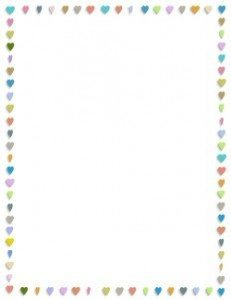 hearts border with small hearts in pastel colors