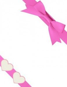 pink ribbon with two hearts