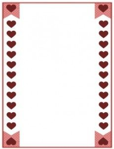 hearts border with red hearts