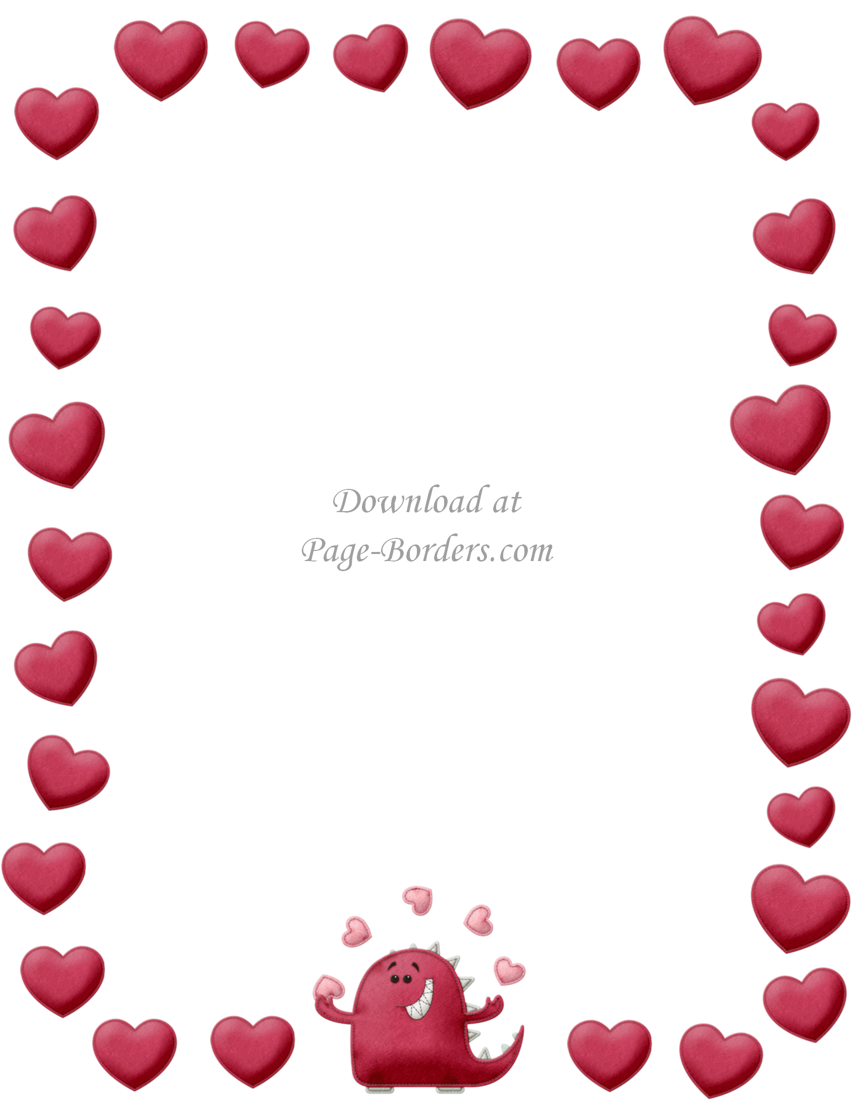 picture regarding Valentine Borders Free Printable identified as Free of charge Printable Center Border Customise on the internet or obtain as is