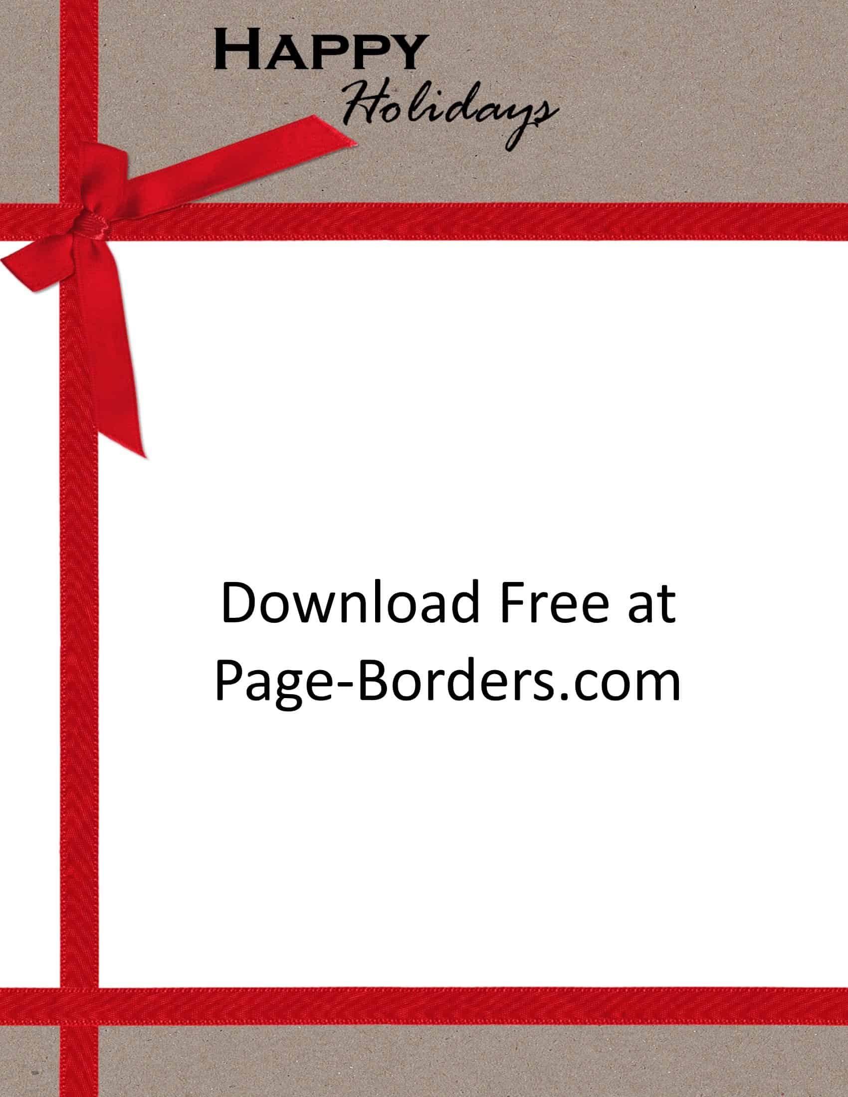 free pretty christmas border holiday border with red ribbon