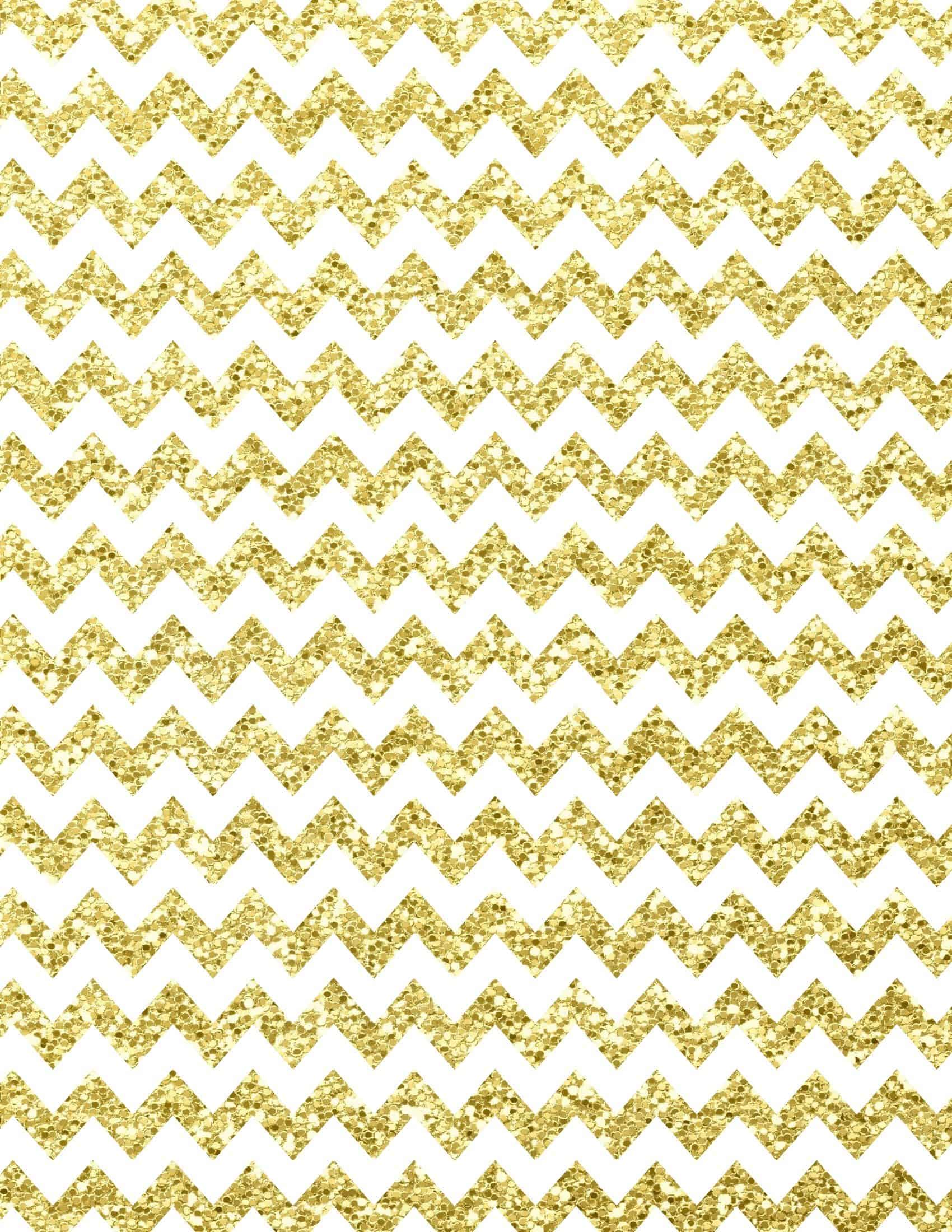 Gold and white chevron print