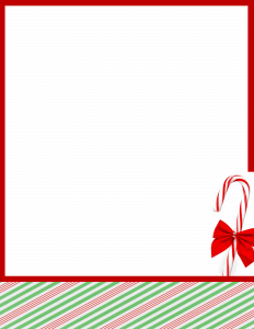 red and green border with candy stick