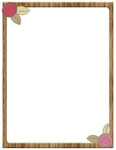 thin wooden frame border with pink flowers