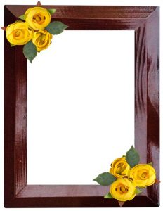 wooden frame border with yellow flowers