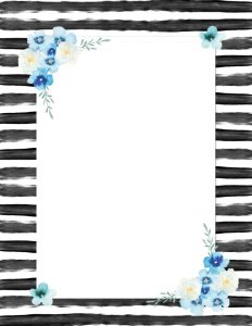 black and white stripes with blue flowers all painted in watercolor