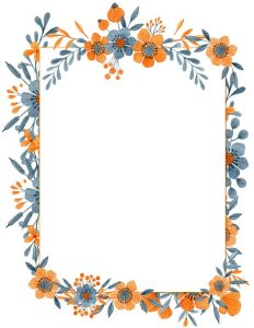 Pretty Watercolor Templates Fl Border With Striped Background Orange Flowers Around A White Frame