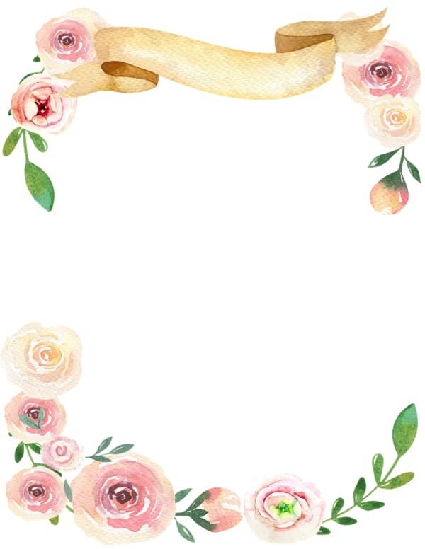 floral border with watercolor flowers