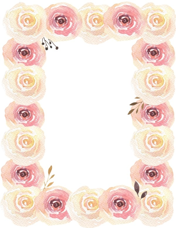 graphic about Free Printable Flower Borders known as Totally free Watercolor Flower Border Customise On the net A lot of Types