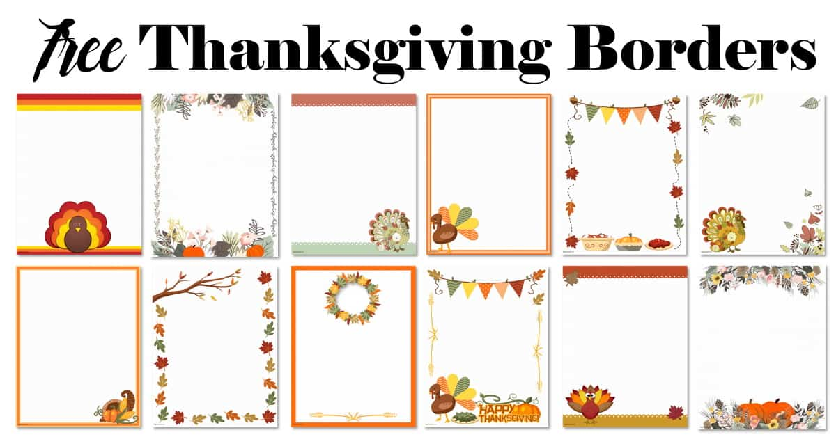 Free Thanksgiving Border Printables Many Designs Available