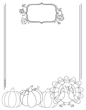 Picture of three pumpkins and a cute turkey with a frame for a title