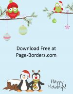 Christmas clip art with penguins and owls